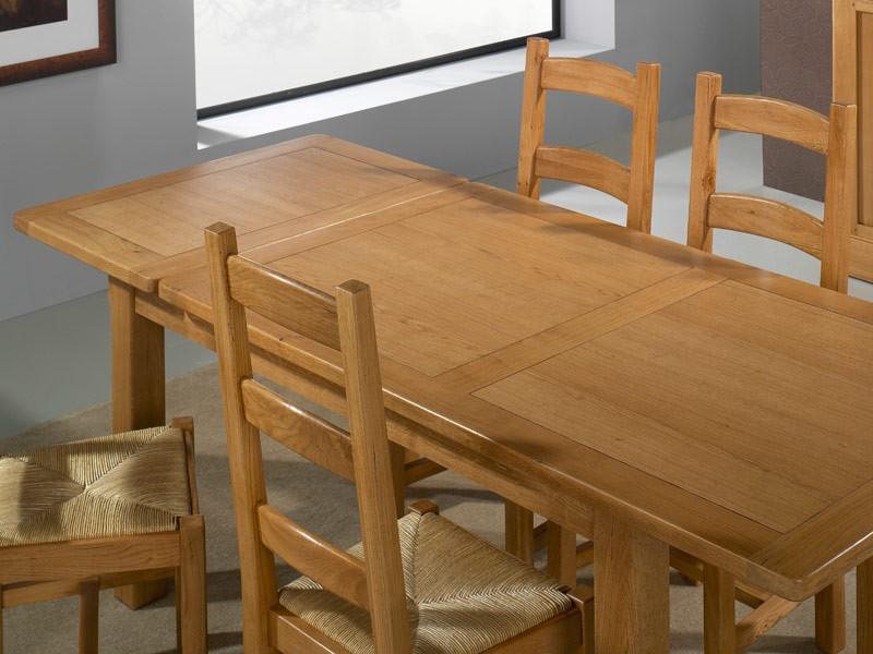 Table à manger rustique en chêne massif Silver, carré ou rectangulaire avec a