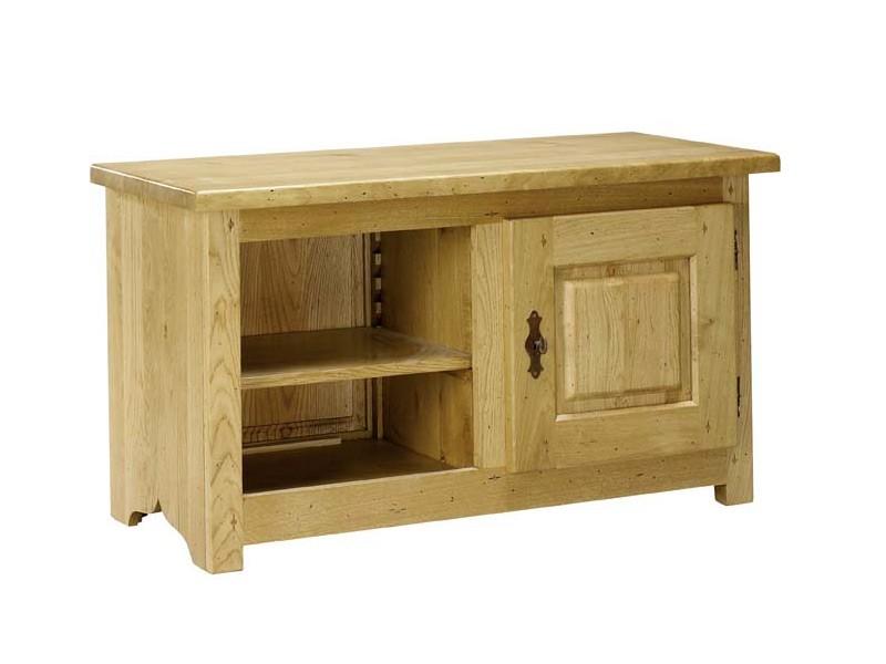 Petit meuble tv rustique paros 1 porte et 1 niche for Petit meuble tv bois