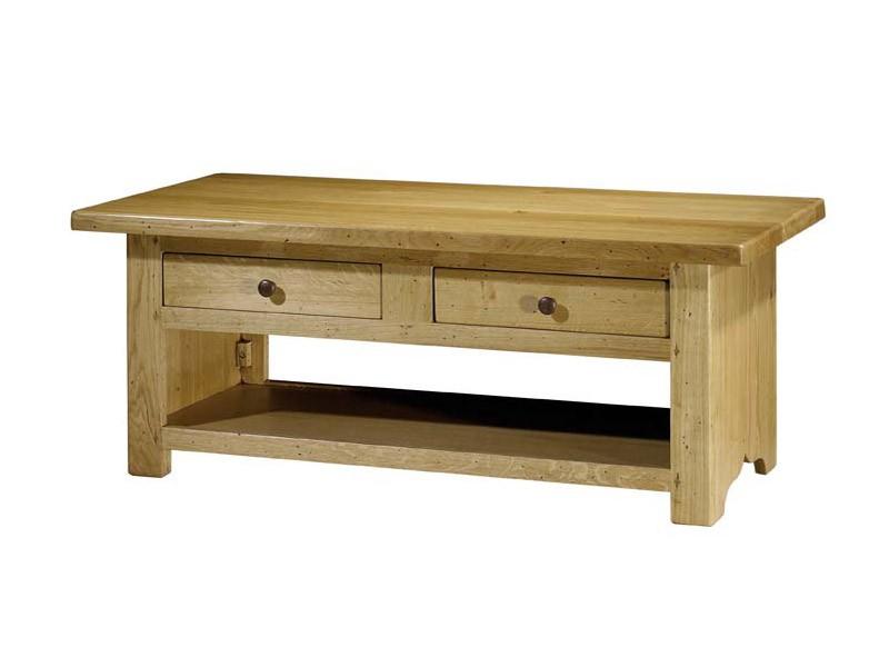 Table basse paros en ch ne massif double plateau et 2 tiroirs meubles boi - Table basse rustique chene massif ...