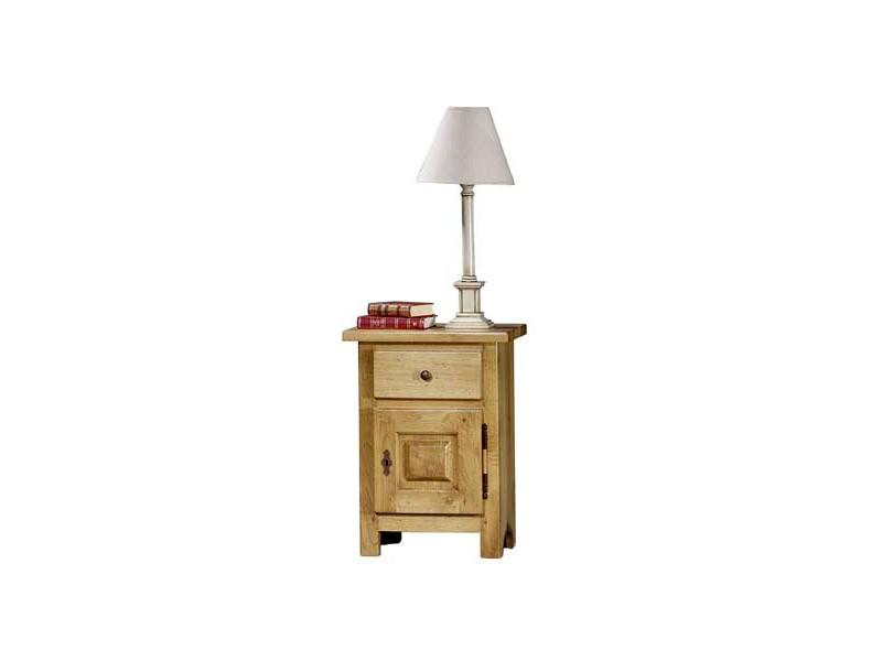 Chevet rustique paros en ch ne massif 1 porte 1 tiroir for Table de chevet bois massif