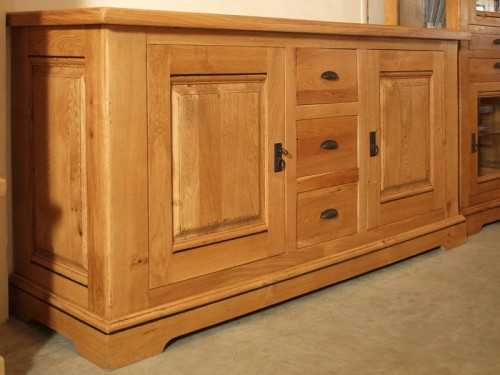 buffet rustique berry en ch ne 2 portes 3 tiroirs meubles bois massif. Black Bedroom Furniture Sets. Home Design Ideas