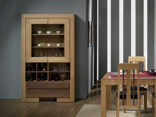 vitrine ruban en chene et bois de noyer avec tiroirs et niches meubles bois massif. Black Bedroom Furniture Sets. Home Design Ideas