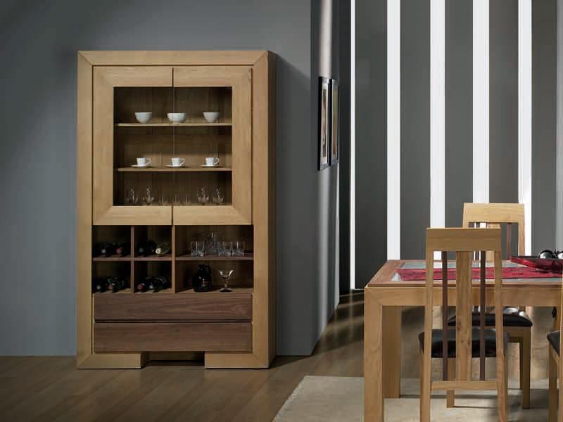 vitrine ruban en chene et bois de noyer avec tiroirs et. Black Bedroom Furniture Sets. Home Design Ideas