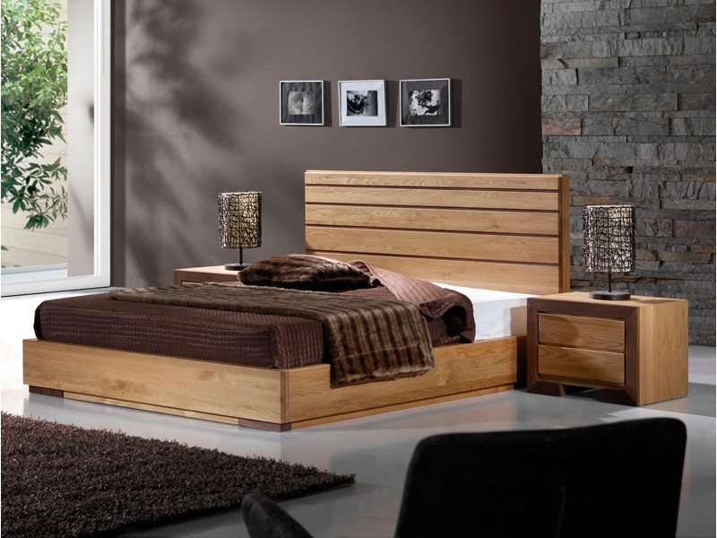 lit ruban en ch ne massif avec t te de lit lattes. Black Bedroom Furniture Sets. Home Design Ideas