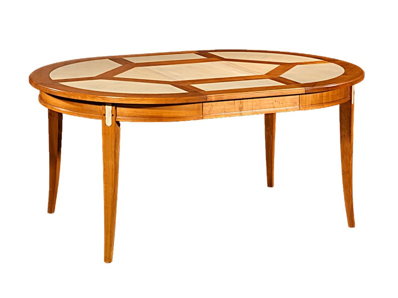 Table à manger en merisier massif, plateau laqué blanc  Meubles Bois Massif -> Plateau Merisier