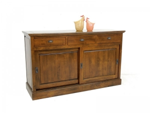 bahut m tis en bois massif de ch taignier 2 portes coulissantes avec tiroirs meubles bois massif. Black Bedroom Furniture Sets. Home Design Ideas
