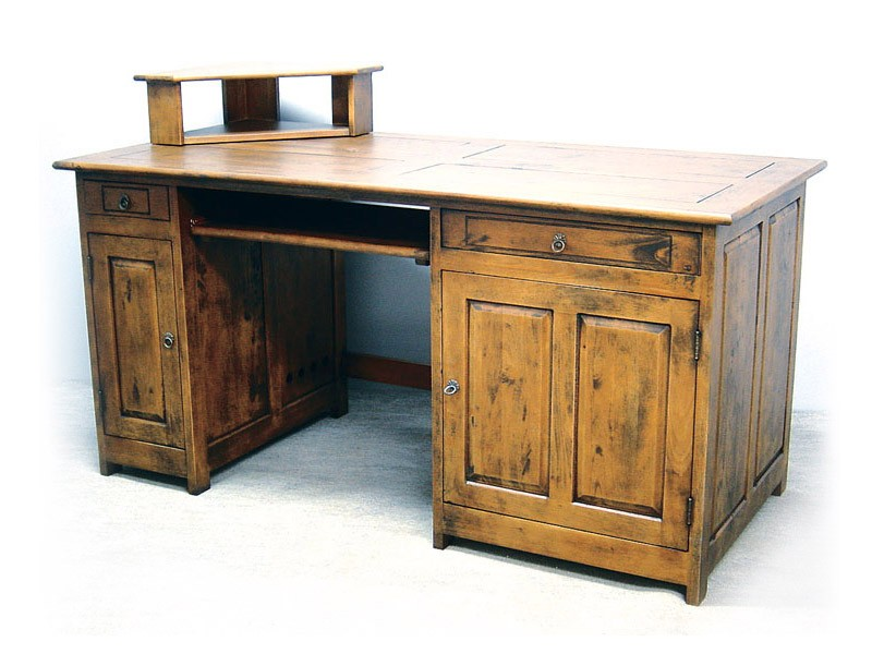 bureau multim dia m tis en bois massif double plateau meubles bois massif. Black Bedroom Furniture Sets. Home Design Ideas