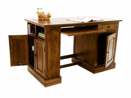 Bureau ministre m tis en h v a massif avec portes et tiroirs for Meuble bureau usage