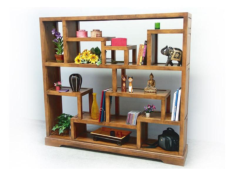 biblioth que destructur e en hevea massif moka. Black Bedroom Furniture Sets. Home Design Ideas
