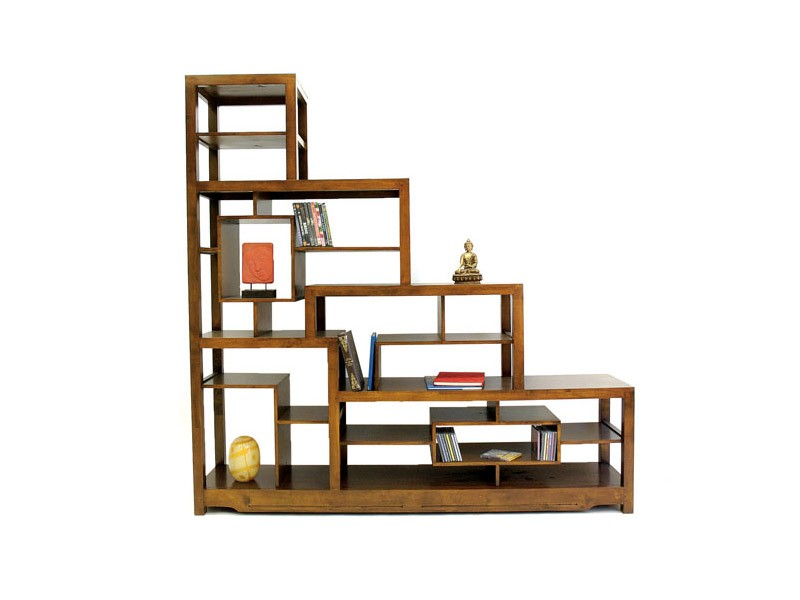 biblioth que en escalier moka tag res destructur es en bois de chataignier meubles bois massif. Black Bedroom Furniture Sets. Home Design Ideas