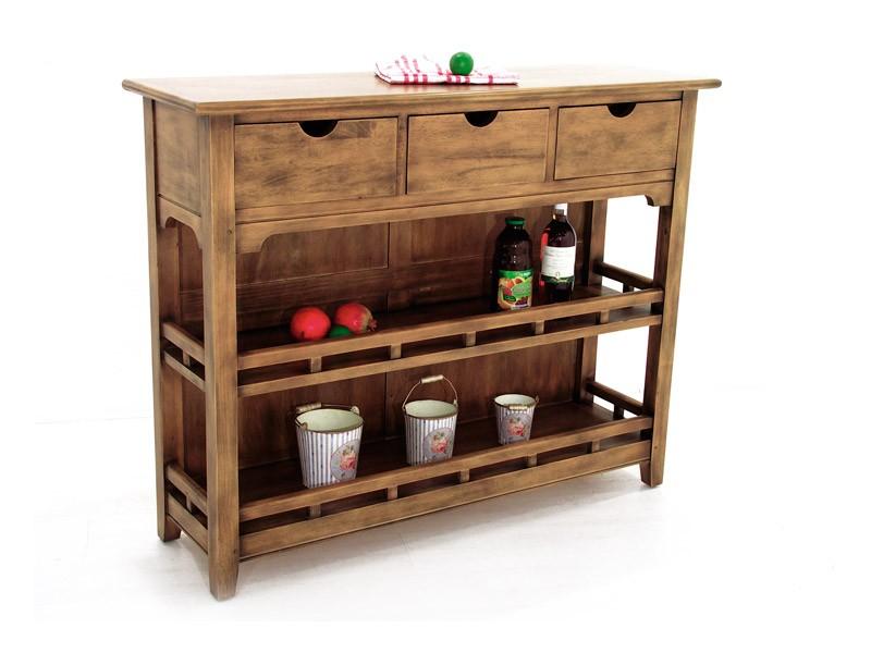 petit vaisselier en bois massif de ch taignier 2 tag res 3 tiroirs meubles bois massif. Black Bedroom Furniture Sets. Home Design Ideas
