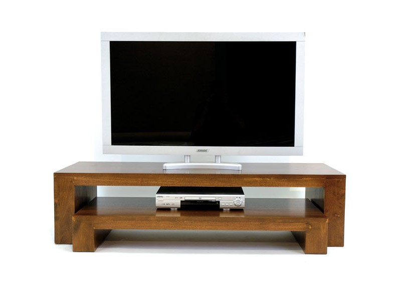 double banc tv moka en bois massif de ch taignier meubles bois massif. Black Bedroom Furniture Sets. Home Design Ideas