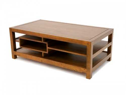 Table basse moderne moka 3 plateaux 1 niche meubles - Table basse moderne divine collection ...