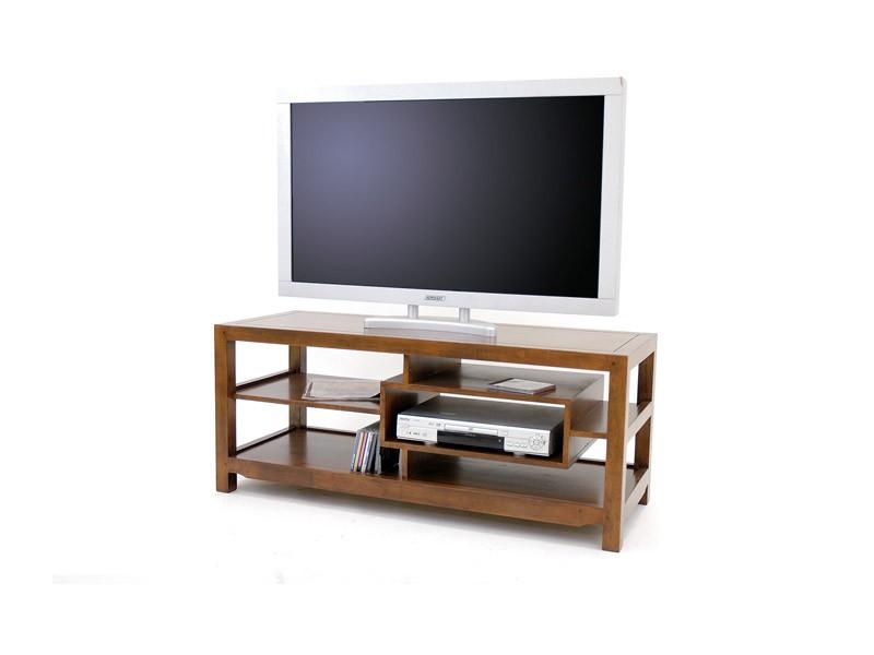 Meuble tv moderne moka 3 plateaux 1 niche meubles for Meuble tv solde