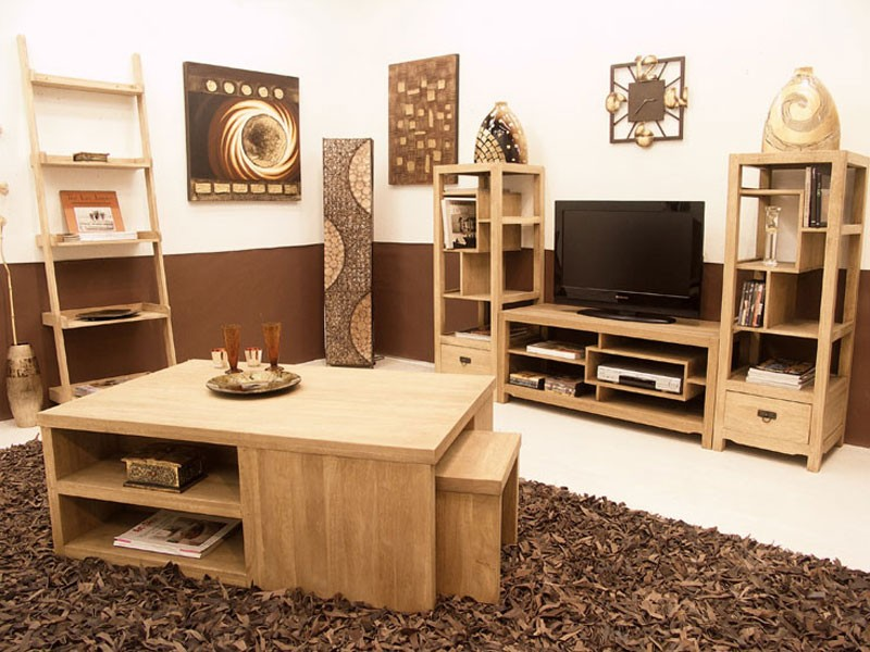 meuble tv moderne moka 3 plateaux 1 niche meubles bois massif. Black Bedroom Furniture Sets. Home Design Ideas