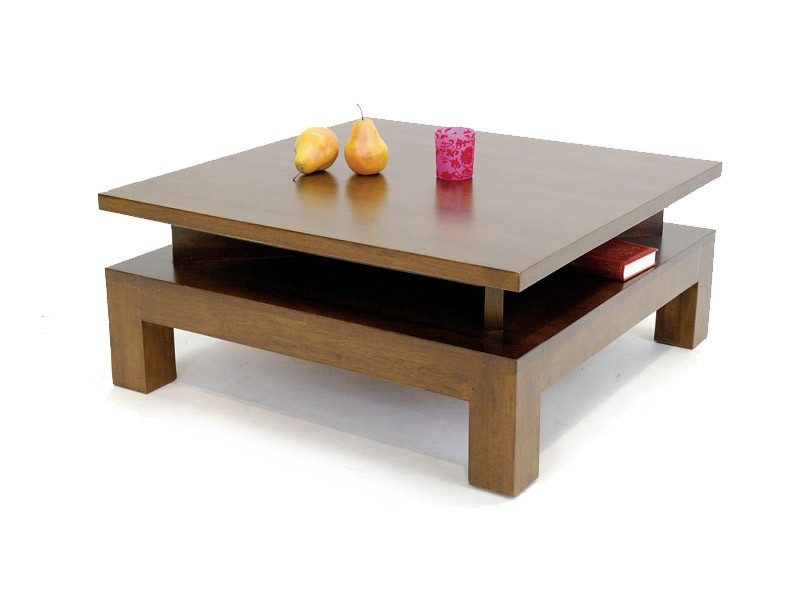 Table basse carr moka avec niches triangulaires sous - Table basse carree bois massif ...