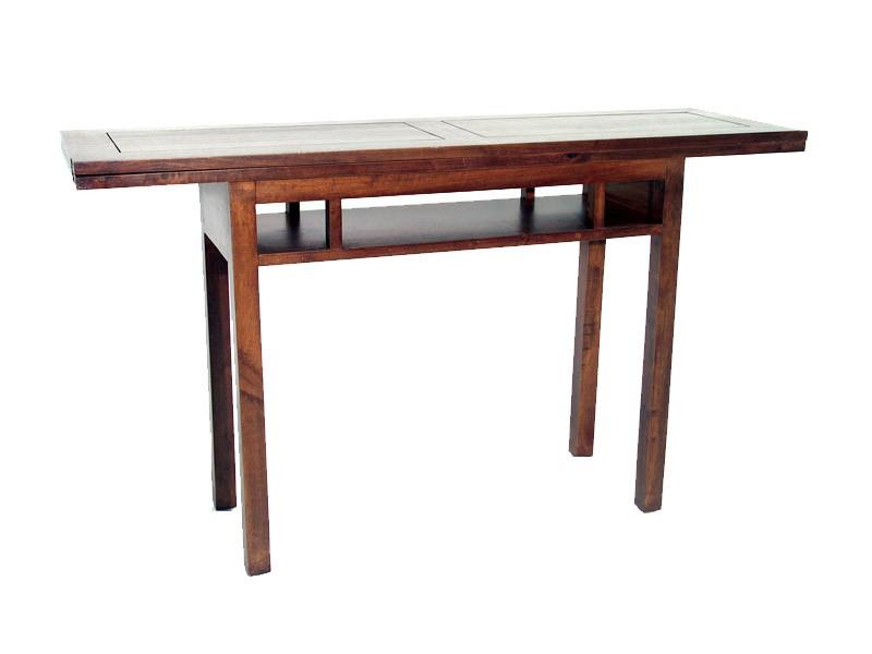 Console extensible moka plateau en bois et 1 niche - Table console en bois ...