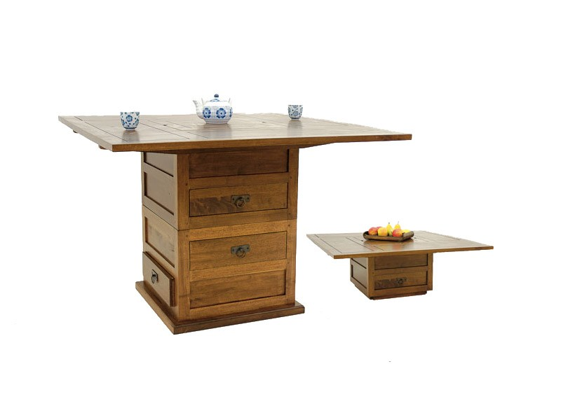 Table manger carr e moka 1 pied central s prable avec tiroirs meubles bo - Table basse table a manger ...