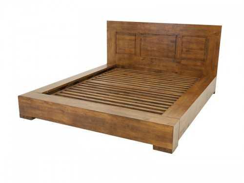 Lit Oscar en hévéa massif avec tete de lit en bois