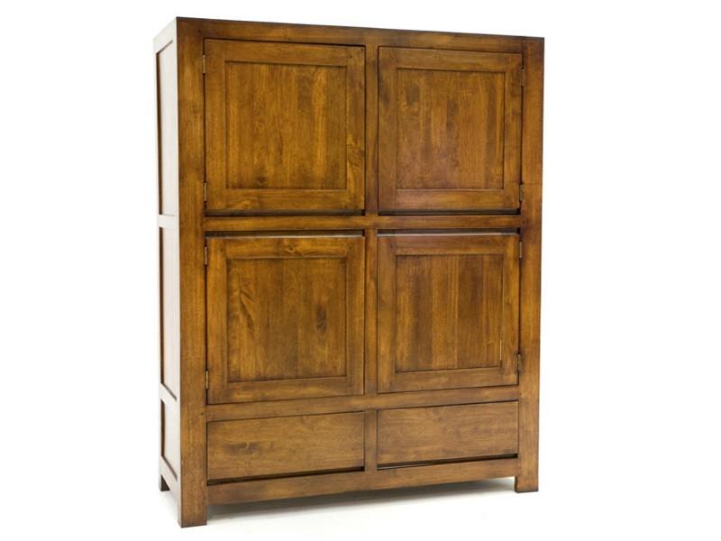 Placard oscar 4 portes 2 tiroirs en bois de ch taignier - Meuble en chataignier ...