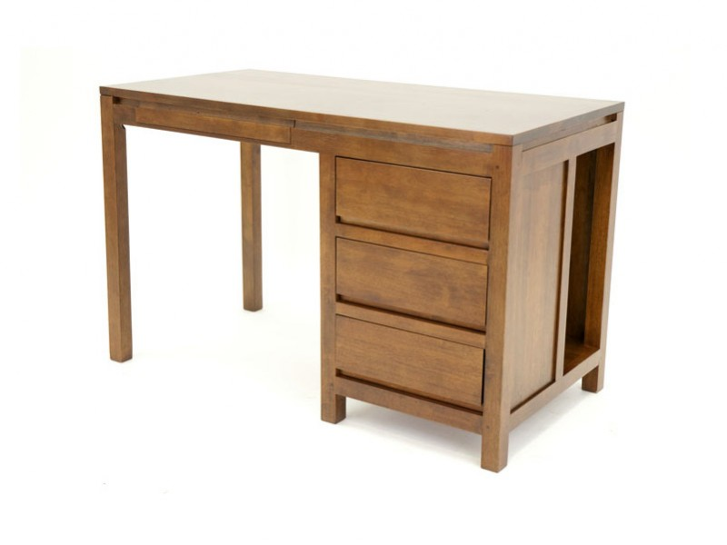 bureau en bois massif oscar avec compartiement 4 tiroirs meubles bois massif. Black Bedroom Furniture Sets. Home Design Ideas