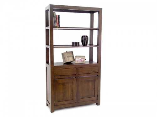 biblioth que ouverte oscar avec tag res en bois 2 tiroirs et 2 portes meubles bois massif. Black Bedroom Furniture Sets. Home Design Ideas