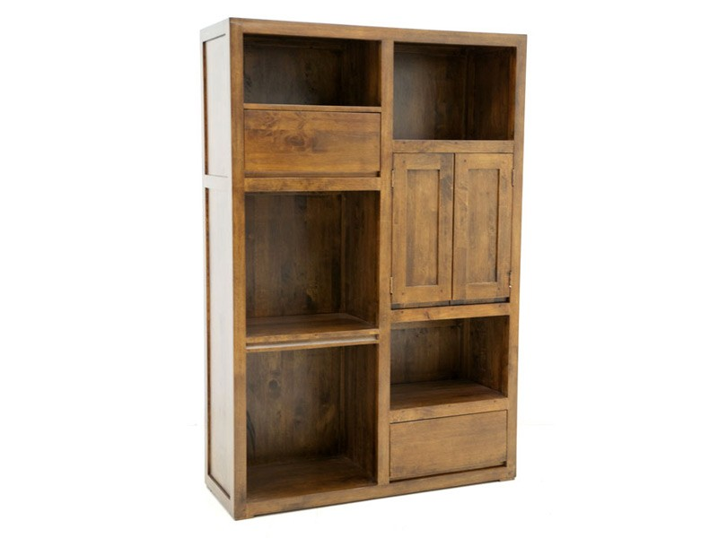 biblioth que oscar 5 niches 2 tiroirs en bois de ch taignier meubles bois massif. Black Bedroom Furniture Sets. Home Design Ideas