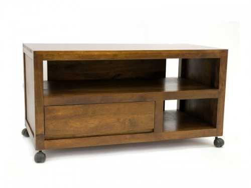 meuble tv roulant oscar en bois de chataignier avec niches et tiroirs meubles bois massif. Black Bedroom Furniture Sets. Home Design Ideas