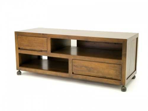 meuble tv sur roulette oscar en bois de ch taignier massif. Black Bedroom Furniture Sets. Home Design Ideas