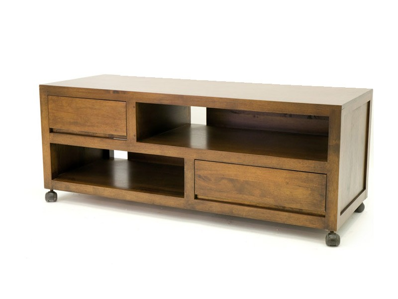 meuble tv sur roulette oscar en bois de ch taignier massif meubles bois massif. Black Bedroom Furniture Sets. Home Design Ideas