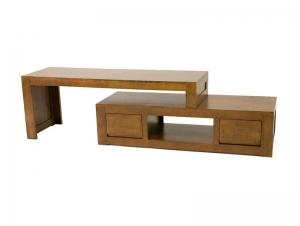 meuble tv oscar 2 tiroirs avec banc amovible en bois de ch taignier meubles bois massif. Black Bedroom Furniture Sets. Home Design Ideas
