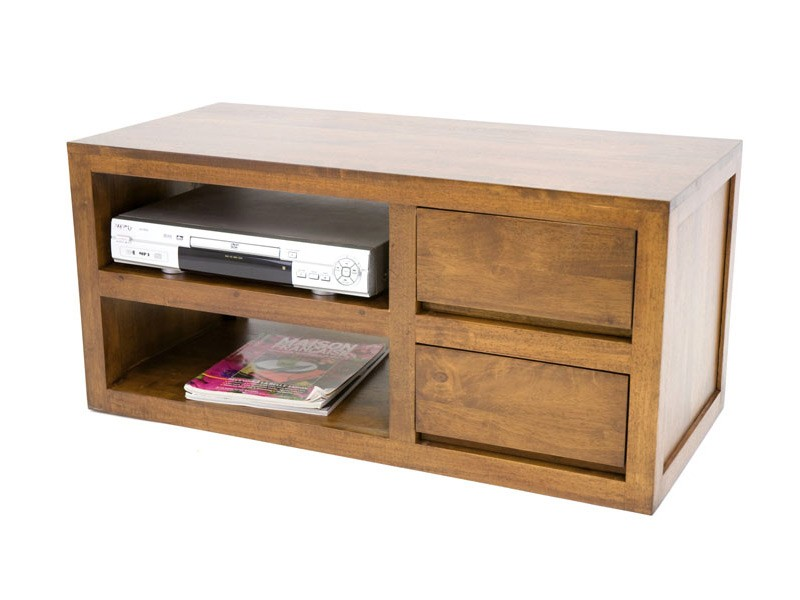 meuble tv sur socle oscar en bois de ch taignier 2 tiroirs 1 tag re meubles bois massif. Black Bedroom Furniture Sets. Home Design Ideas