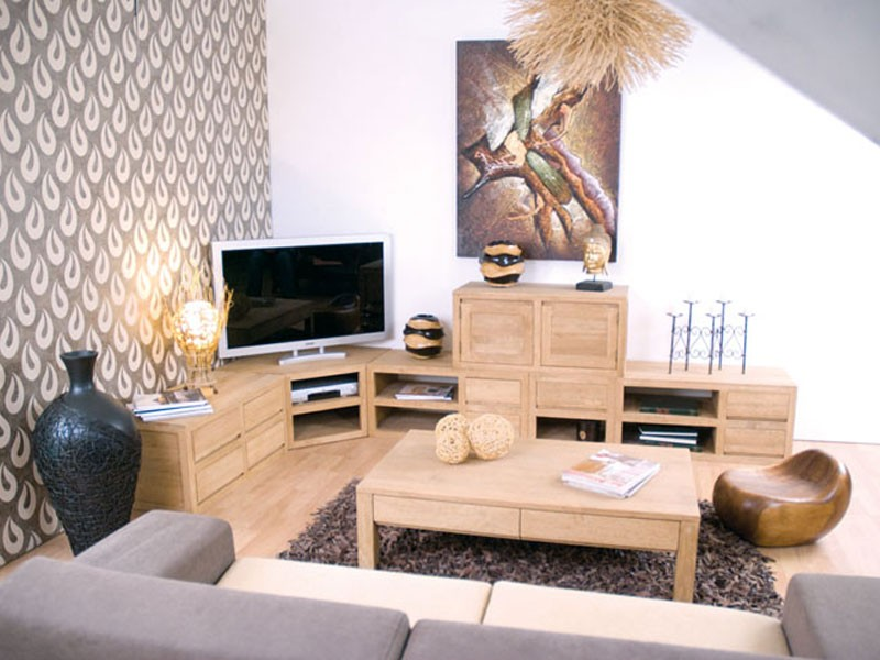 meuble tv sur socle oscar en bois de ch taignier 2. Black Bedroom Furniture Sets. Home Design Ideas