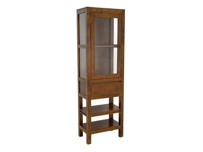 Colonne de salle de bain oscar 1 porte vitr e 1 tiroir et - Etagere de salle de bain en bois ...