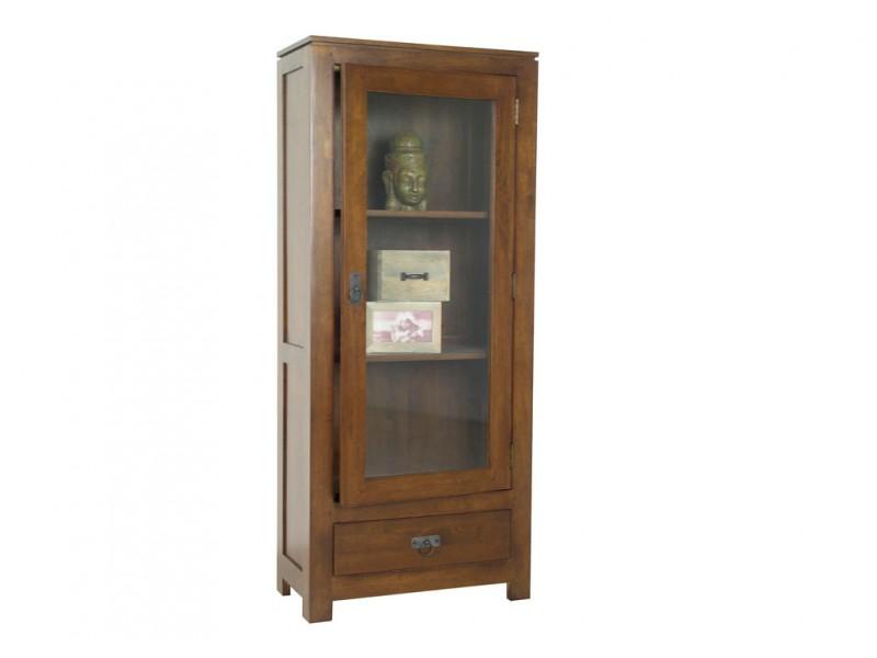 Vitrine holly 1 porte 1 tiroir en bois massif de for Colonne salon