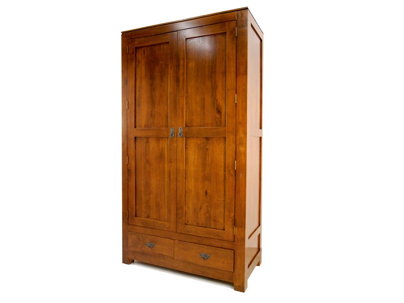armoire moderne holly 2 portes 2 tiroirs avec penderie meubles bois massif. Black Bedroom Furniture Sets. Home Design Ideas
