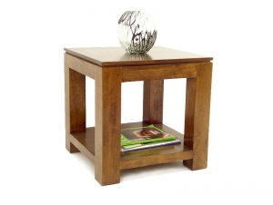 table de chevet holly en bois massif double plateau meubles bois massif. Black Bedroom Furniture Sets. Home Design Ideas