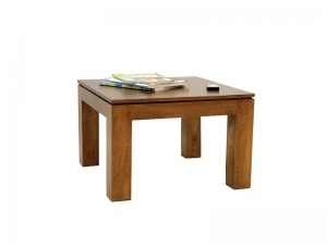 Table de salon carr holly en bois de ch taignier - Table basse carree bois massif ...