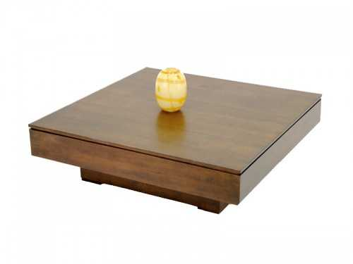 Table basse carr e holly plateau sur socle central meubles bois massif - Table basse carree en bois ...