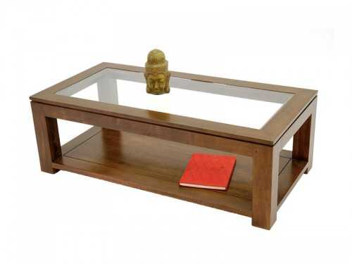 Table de salon rectangulaire holly double plateau meubles bois massif - Meuble de salon contemporain ...