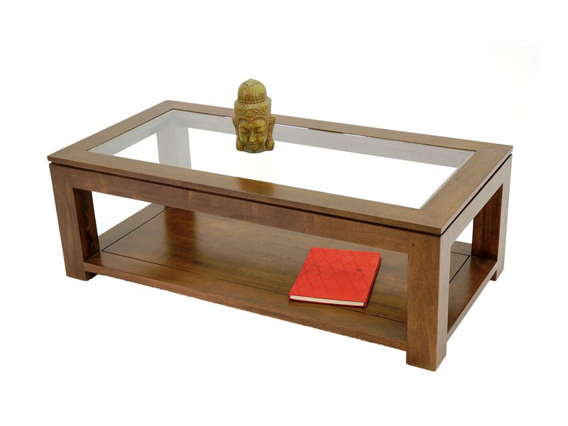 Table de salon rectangulaire holly double plateau for Table basse en merisier