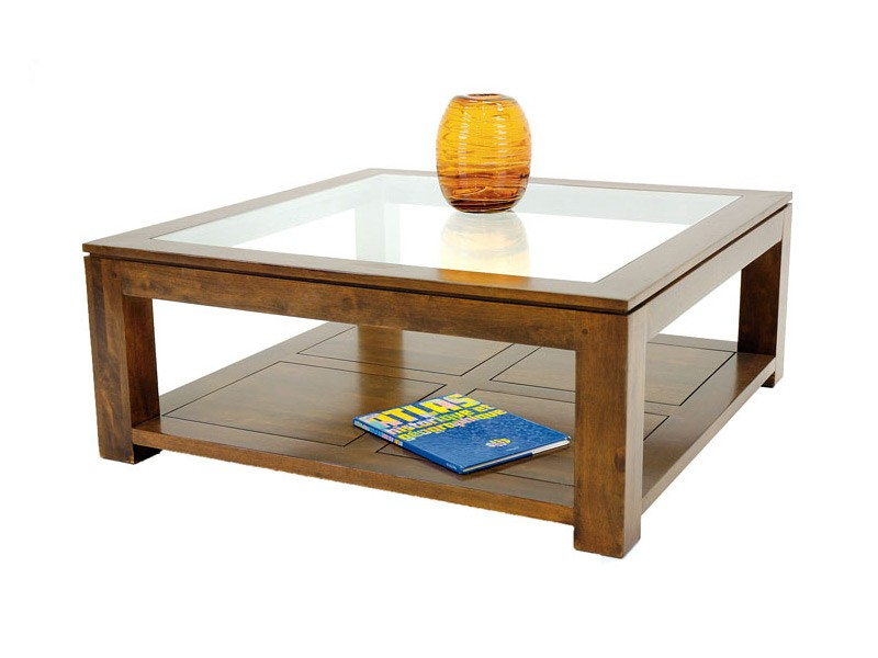 Table basse double plateau holly en bois de ch taignier - Table basse carree bois massif ...