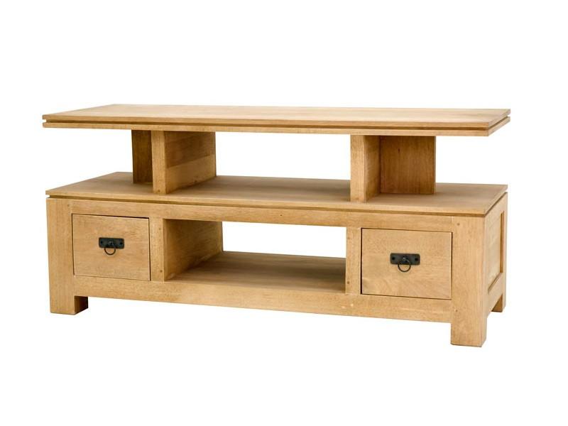 Meuble tv moderne holly 2 plateaux 2 tiroirs meubles - Meuble tv en bois massif ...