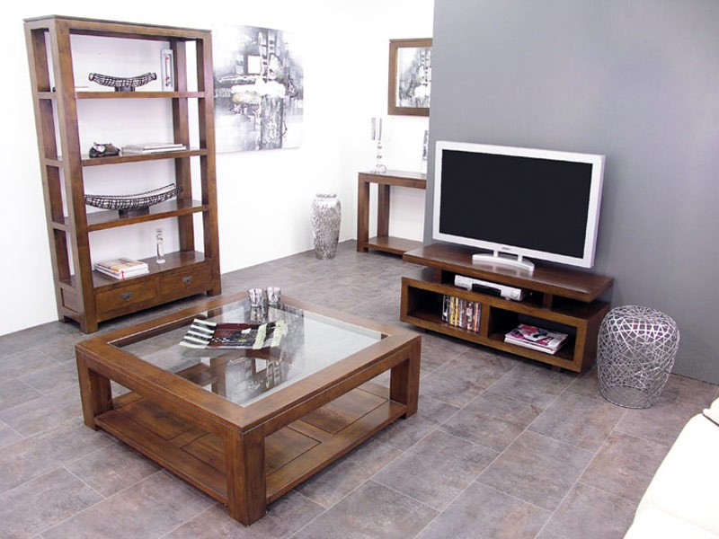 meuble tv contemporain holly 3 plateaux compartiment s meubles bois massif. Black Bedroom Furniture Sets. Home Design Ideas