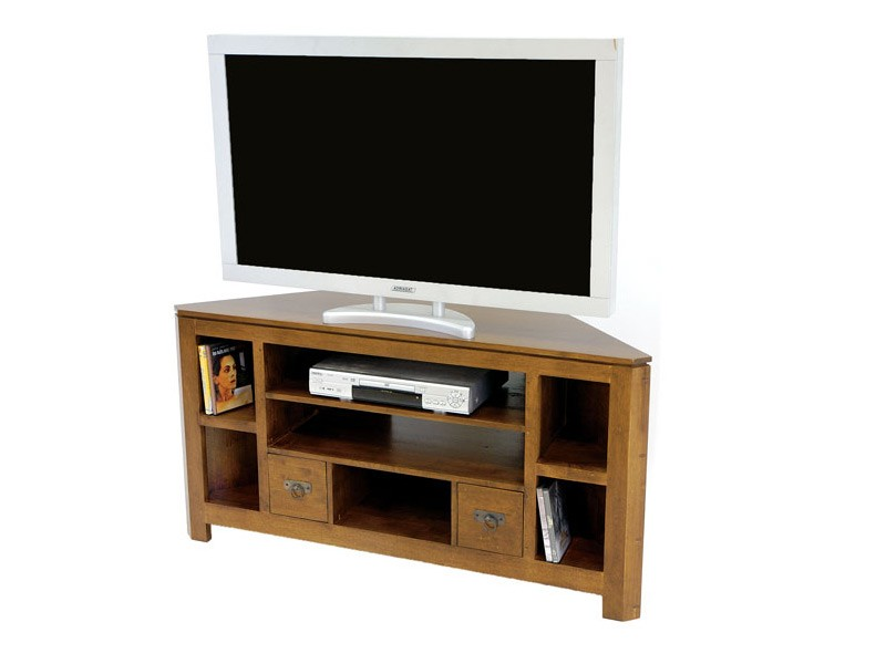 meuble tv d 39 angle holly 7 niches 2 tiroirs meubles bois massif. Black Bedroom Furniture Sets. Home Design Ideas
