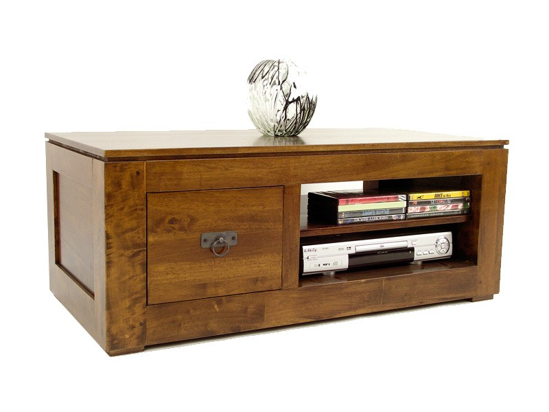 meuble tv moderne holly 1 tiroir 1 niche avec tag re meubles bois massif. Black Bedroom Furniture Sets. Home Design Ideas