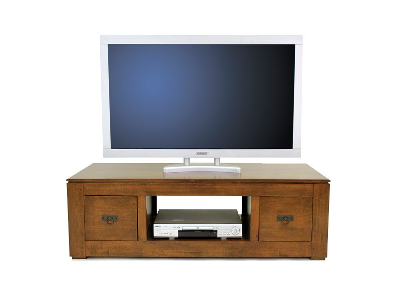 meuble tv moderne holly 2 tiroirs 1 niche centrale meubles bois massif. Black Bedroom Furniture Sets. Home Design Ideas