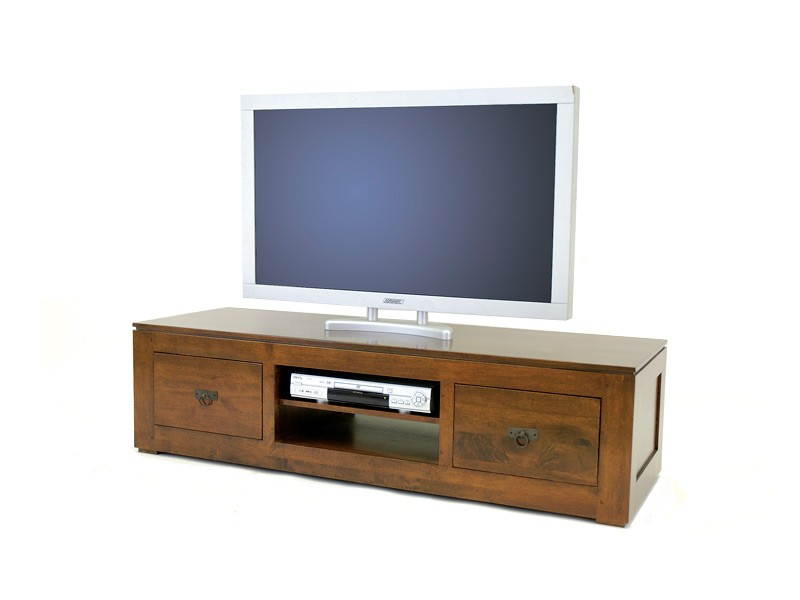 meuble tv holly 2 tiroirs 1 niche central avec tag re meubles bois massif. Black Bedroom Furniture Sets. Home Design Ideas