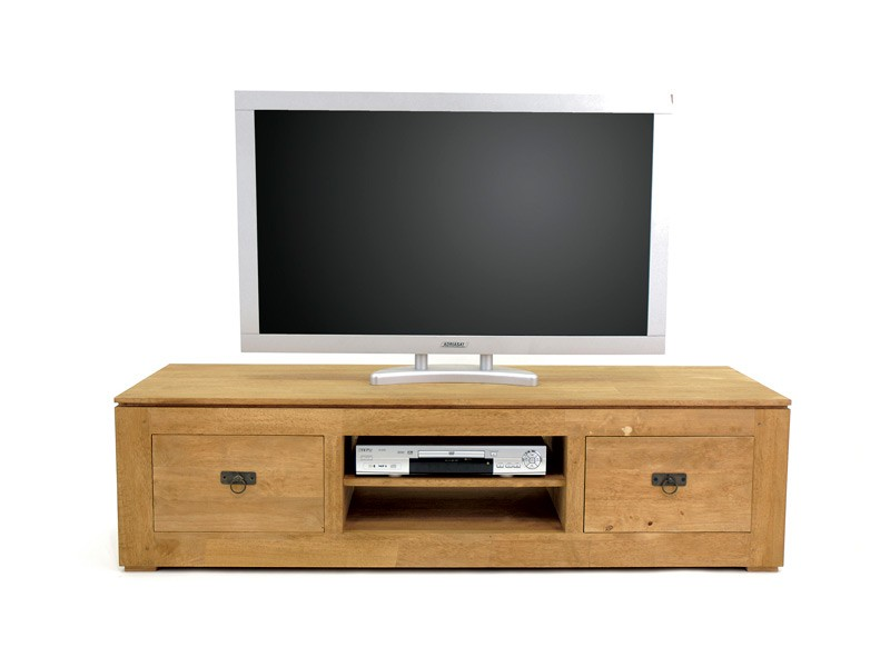 Meuble tv holly 2 tiroirs 1 niche central avec tag re for Meuble tv solde
