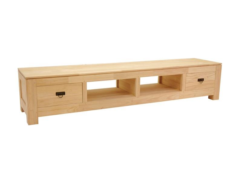 Grand meuble tv holly en bois 2 tiroirs 2 niches for Grand meuble tv bois
